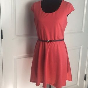 Iz Byer Coral Fit and Flare Dress